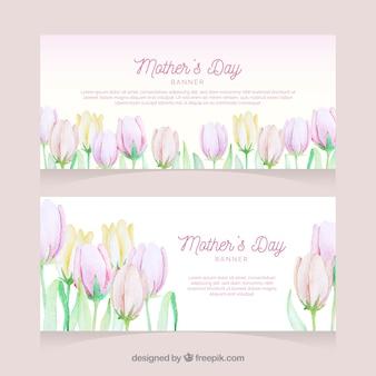 Banners de aquarela feliz dia das mães