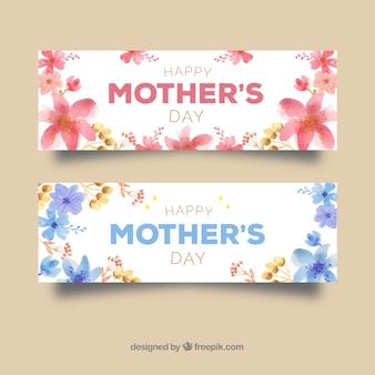 Banners de aquarela florais para o dia da mãe
