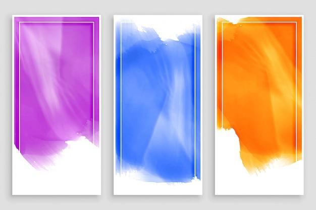 Banners de aquarela vazia cenografia