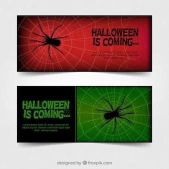Banners de aranha vermelha e verde