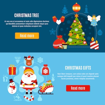Banners de árvore e presentes de natal