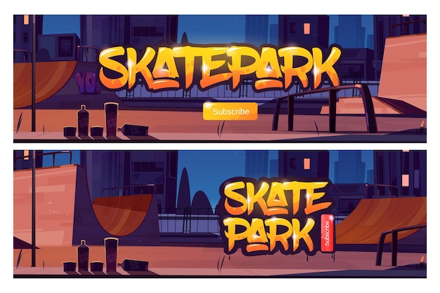 Banners de assinatura do parque de skate
