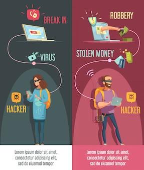 Banners de atividade criminal de hackers cravejado de homem e mulher quebrando contas de computador