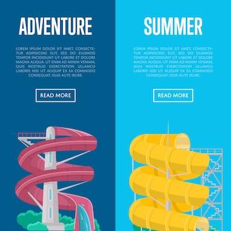 Banners de aventura de verão com toboágua