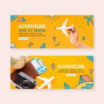 Banners de aventura desenhados à mão com foto