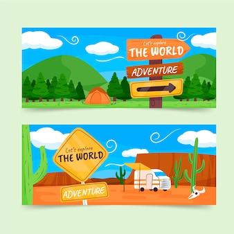 Banners de aventura desenhados à mão