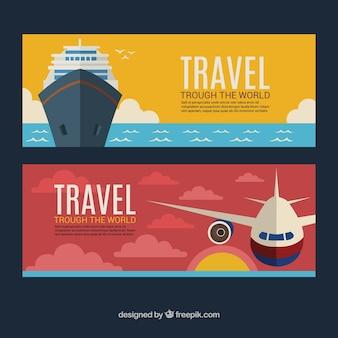 Banners de avião e barco em design plano