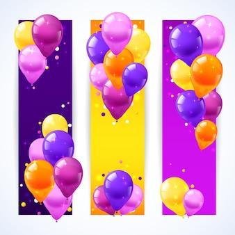 Banners de balões coloridos vertical