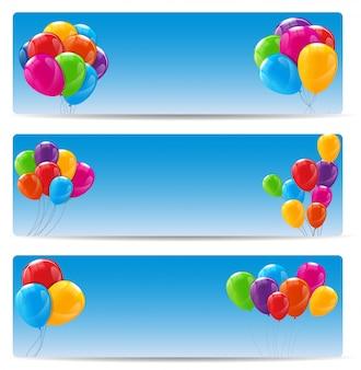 Banners de balões de feliz aniversário cor brilhante