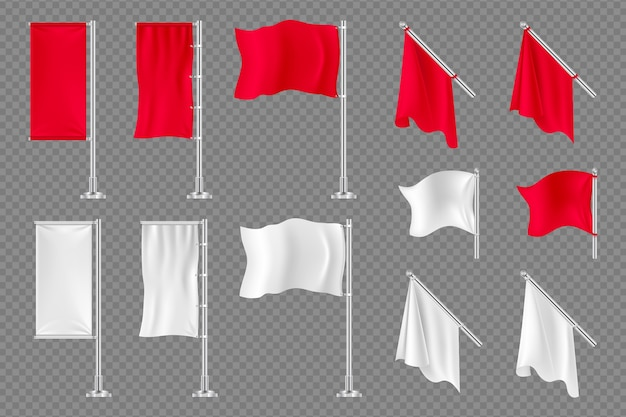 Banners de bandeira. bandeiras têxteis realistas de vetor