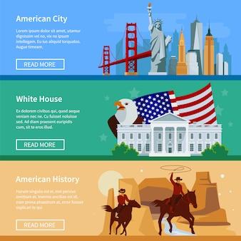 Banners de bandeira eua com a paisagem urbana americana casa branca e cowboys