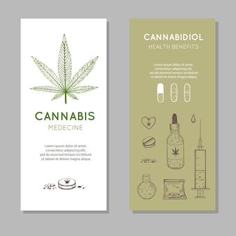 Banners de benefícios de saúde de canabidiol. conjunto desenhado à mão de cannabis medicinal, maconha
