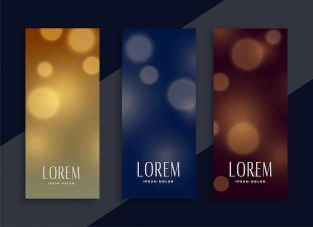 Banners de bokeh bonito definidos em três cores