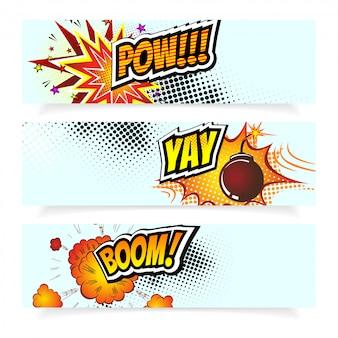 Banners de bomba de explosão de estilo de quadrinhos pop art