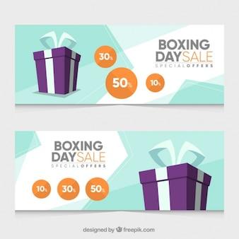 Banners de boxe planas dia de venda com ofertas especiais