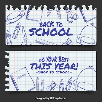 Banners de caderno escolar folhas