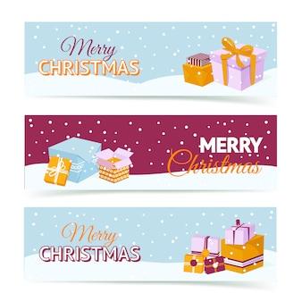 Banners de caixa de presente feliz natal