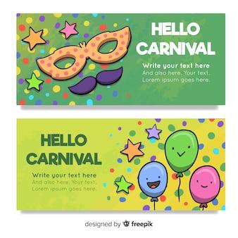 Banners de carnaval de mão desenhada