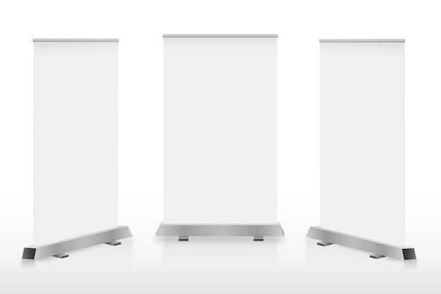 Banners de carrinhos de publicidade digital. telas lcd brancas