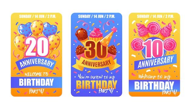 Banners de cartões de aniversário de aniversário