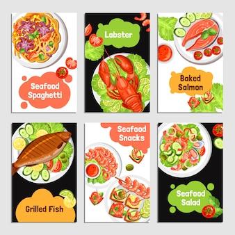 Banners de cartões de frutos do mar