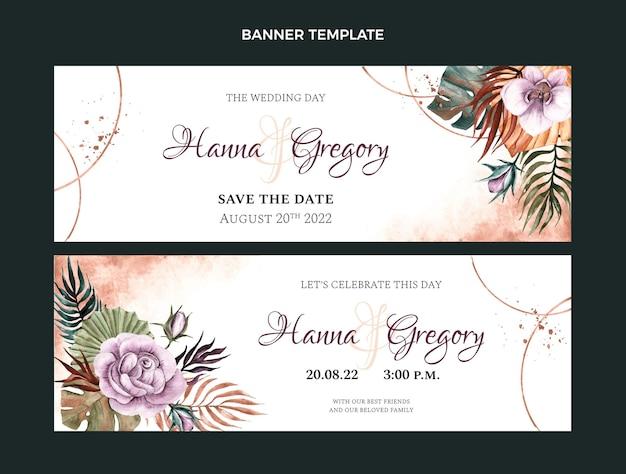 Banners de casamento boho em aquarela horizontais