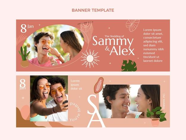 Banners de casamento desenhados à mão na horizontal