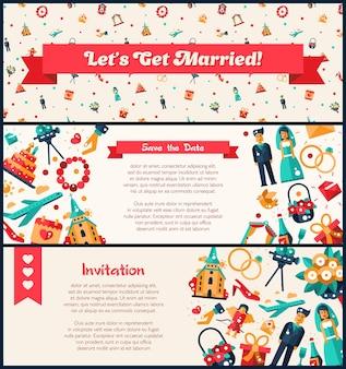Banners de casamento e convites de casamento de design plano