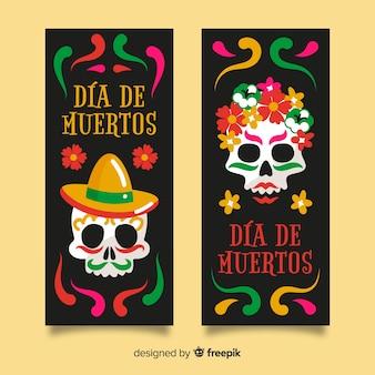 Banners de caveira de dia de muertos