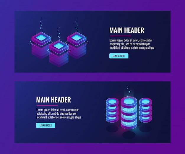 Banners de centro de dados e banco de dados, ícones de sala de servidor, néon escuro de informações de armazenamento em nuvem