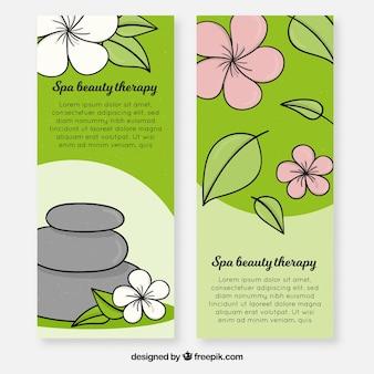 Banners de centro de spa com tratamentos