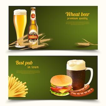 Banners de cerveja realistas