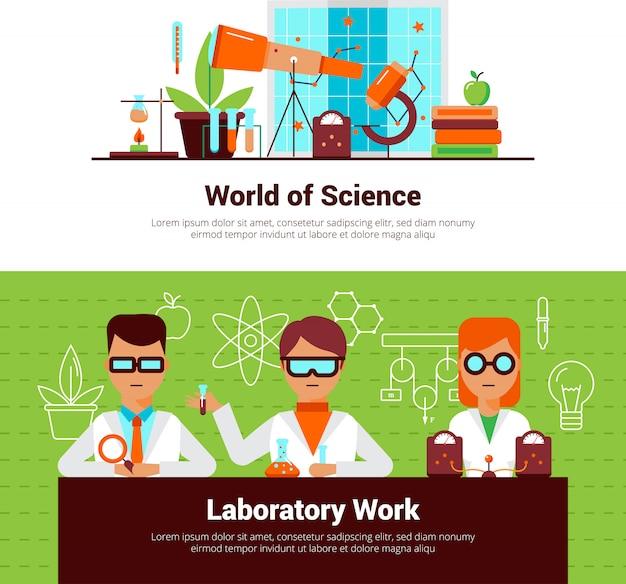 Banners de ciência e trabalho de laboratório