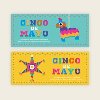 Banners de cinco de maio de design plano