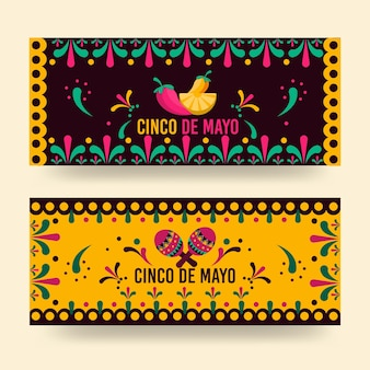 Banners de cinco de maio em design plano