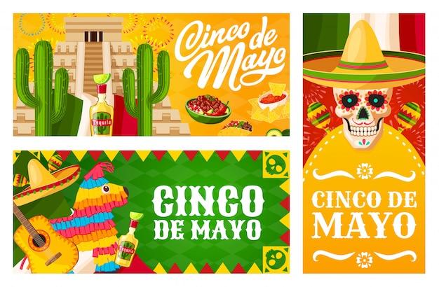 Banners de cinco de mayo da festa do feriado mexicano