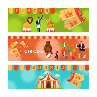 Banners de circo com divertidos elementos planos