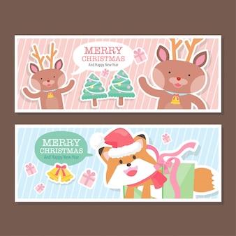 Banners de coleção de natal bonito dos desenhos animados
