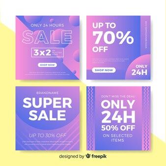 Banners de coleção de postagens de venda gradiente instagram