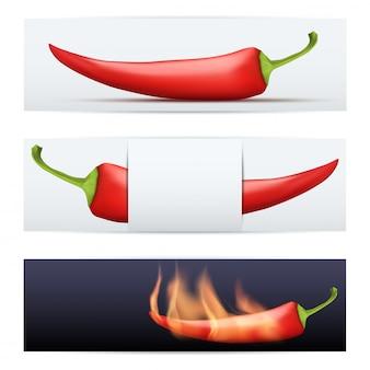 Banners de comida com pimenta picante