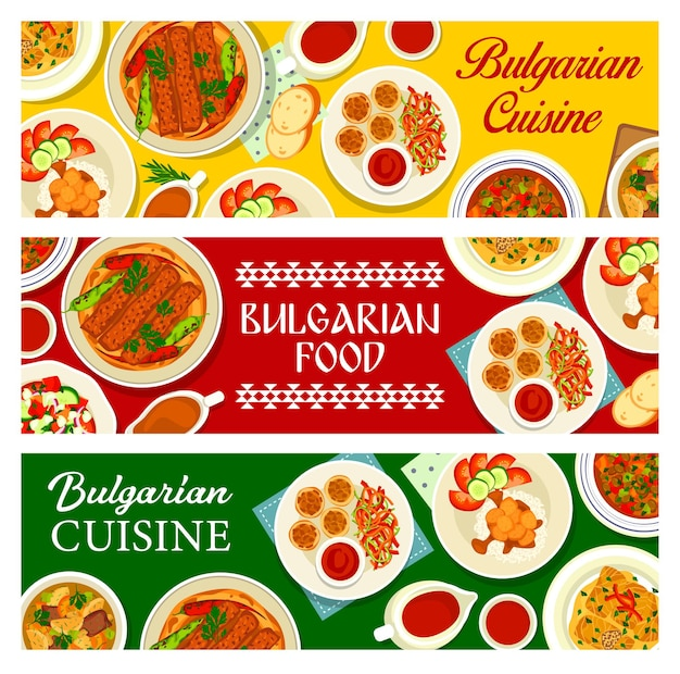 Banners de comida de cozinha búlgara, pratos e refeições da bulgária