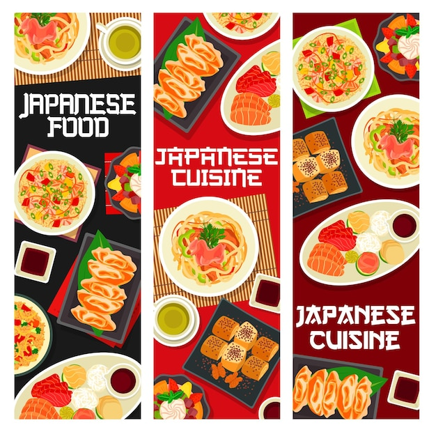 Banners de comida de cozinha japonesa, refeições e pratos asiáticos, menu de restaurante de vetor. refeições e almoços tradicionais japoneses em tigelas de macarrão udon, arroz de frutos do mar e pãezinhos de omelete com enguia e chá matcha