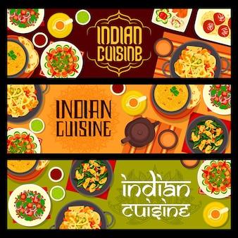 Banners de comida de culinária indiana com vegetais de especiarias