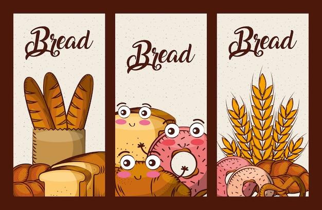 Banners de comida de pão kawaii de conjunto fresco de pão