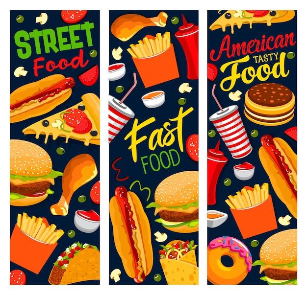 Banners de comida de rua, pizza, hambúrguer, batata frita e tacos com coca-cola, cachorro-quente, coxa de frango e hambúrguer com molho de ketchup. donuts de sobremesa fast-food americano, pedido de lanches para viagem de desenho animado