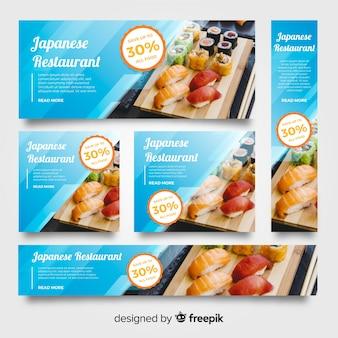 Banners de comida japaness com foto