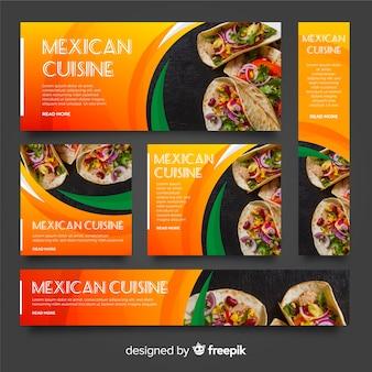 Banners de comida mexicana com foto