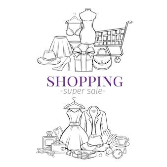 Banners de compras de moda