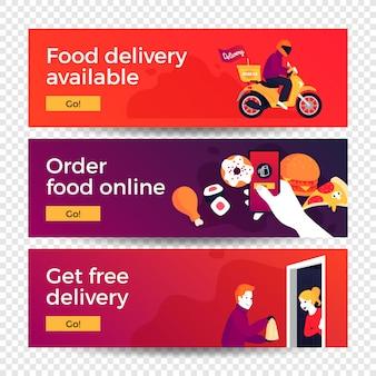 Banners de conceito de entrega de comida