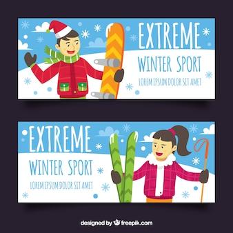 Banners de conceito de esportes de inverno com homem e mulher